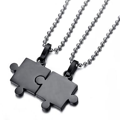 povoljno Modne ogrlice-Muškarci Srebro Crn Kubični Zirconia Ogrlice s privjeskom Geometrijski Najbolji prijatelji Odnos Hip-hop nehrđajući Crn Pink 50 cm Ogrlice Jewelry 2pcs Za Vjenčanje Angažman