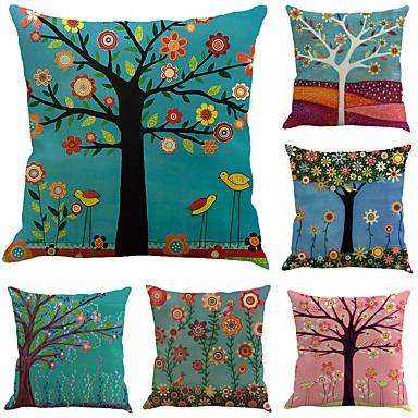 billige Putevar-6 stk Bomull / Lin Putevar, Trær / Blader Blad Blomstermønster Ferie Tropisk