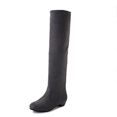 levne Shoes Trends-Dámské Boty Ke kolenům Kačenka Nappa Leather Ke kolenům Módní obuv / hrbit boty Zima Černá / Hnědá / Červená / EU39
