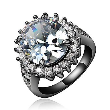 billige Motering-Dame Ring Forlovelsesring Kubisk Zirkonium 1pc Hvit Blå 18K Gullbelagt Fuskediamant Rund Stilfull Luksus Romantikk Fest Engasjement Smykker Retro Smuk