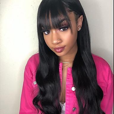 voordelige Korting Pruiken & Hair Extensions-Echt haar Kanten Voorkant Pruik Gratis deel stijl Braziliaans haar Golvend Zwart Pruik 130% Haardichtheid met babyhaar Natuurlijke haarlijn Voor donkere huidskleur 100% Maagd 100% handgebonden Dames