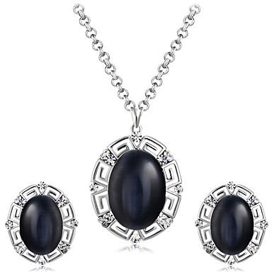 levne Dámské šperky-Dámské Černá Sopečné sklo Náhrdelníky s přívěšky Náušnice stylové umělecké Jedinečný design Postříbřené Umělé diamanty Náušnice Šperky Černá Pro Párty Večerní oslava Formální 3ks