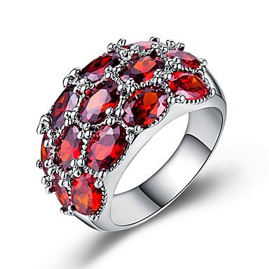 billige Motering-Dame Band Ring Kubisk Zirkonium 1pc Hvit Kobber Geometrisk Form Stilfull Luksus Europeisk Bryllup Gave Smykker Klassisk Kul