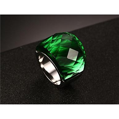 billige Motering-Dame Ring 1pc Blå Lyseblå Lys Grønn Rustfritt Stål Glass Rund Mote Gave Daglig Smykker Vintage Stil Smuk