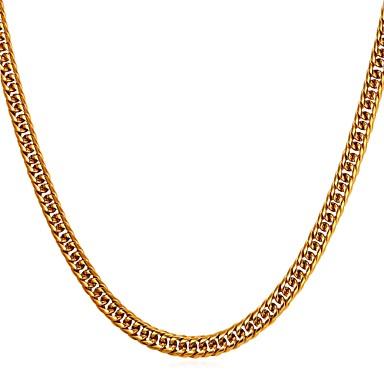 levne Pánské šperky-Pánské Řetízky Foxtail řetězec Námořní řetěz Módní Hip-hop Nerezové Zlatá Černá Stříbrná 55 cm Náhrdelníky Šperky 1ks Pro Dar Denní