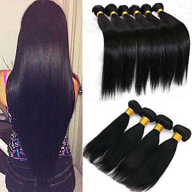povoljno Ekstenzije za kosu-6 paketića Brazilska kosa Ravan kroj Virgin kosa Ljudske kose plete Bundle kose Jedan Pack Solution 8-28 inch Prirodna boja Isprepliće ljudske kose Život Nježno Gust Proširenja ljudske kose