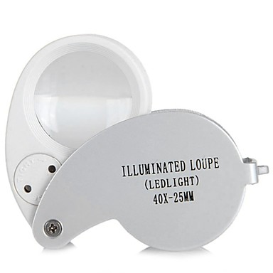 billige Originalt-bærbar 40x mini pocket folding forstørrelse håndholdt forstørrelsesværktøj øje juveler loupe med led lys lampe