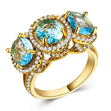 billige Statement Ringe-Dame Statement Ring Kubisk Zirkonium 1pc Gul Grønn Blå Kobber Gullbelagt Geometrisk Form Stilfull Luksus Europeisk Fest Gave Smykker Klassisk Kul