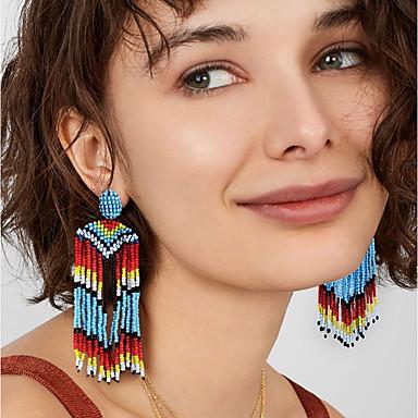 preiswerte Quasten Ohrringe-Damen Tropfen-Ohrringe Einzigartiges Design Ohrringe Schmuck Regenbogen Für Party Abiball Festtage Klub 1 Paar