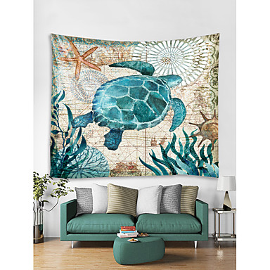 cheap Wall Tapestries-Oil Painting Style Wall Tapestry Art Decor Blanket Curtain Hanging Home Bedroom Living Room Decoration Seabed Animal Turtle