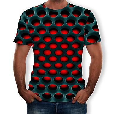 preiswerte Bekleidung-Herrn Geometrisch / 3D - Street Schick / Übertrieben T-shirt, Rundhalsausschnitt Druck Purpur