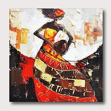 povoljno Ulja na platnu-Hang oslikana uljanim bojama Ručno oslikana - Sažetak Ljudi Comtemporary Moderna Uključi Unutarnji okvir