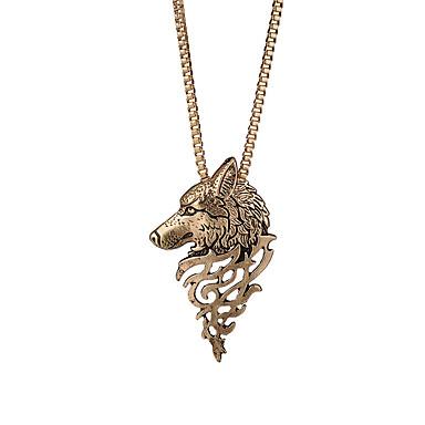 levne Pánské šperky-Pánské Náhrdelníky s přívěšky Vlčí hlava Moderní Rokové Módní skotský Chrome Černá Stříbrná Bronzová 63+5 cm Náhrdelníky Šperky 1ks Pro Denní Street Bar