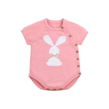 preiswerte Angebote zu Ostern-Baby Mädchen Grundlegend Druck Tiermuster / Schnalle / Grundlegend Kurze Ärmel Baumwolle Einzelteil Blau