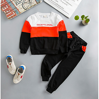 povoljno Odjeća za dječake-Djeca Dječaci Aktivan Osnovni Color block Kolaž Print Dugih rukava Regularna Normalne dužine Pamuk Lan Komplet odjeće Plava