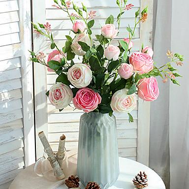ดอกไม้ประดิษฐ์ 1 สาขา คลาสสิก เกี่ยวกับยุโรป สไตล์เรียบง่าย กุหลาบ ดอกไม้นิรันดร์ ดอกไม้วางที่พื้น