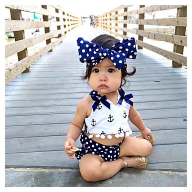 povoljno Odjeća za bebe-Dijete Djevojčice Aktivan Print Vezanje straga Bez rukávů Kratka Pamuk Komplet odjeće Navy Plava