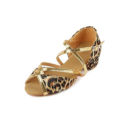 ราคาถูก รองเท้าเต้นราคาถูก-เด็กผู้หญิง รองเท้าเต้นรำ ซาติน ลาติน ส้น หนา Heel เสือดาว / Performance / ฝึก