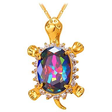 povoljno Modne ogrlice-Žene Više boja Kubični Zirconia Ogrlice s privjeskom Kornjača Moda mesing Zlato Pink 55 cm Ogrlice Jewelry 1pc Za Dar Dnevno