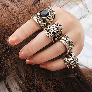 billige Motering-Dame Ring Ring Set Midiringe 4stk Gull Akryl Obsidian Legering Rund trendy Mote Bohem Fest Daglig Smykker Klassisk filigran Totem Serier Heldig