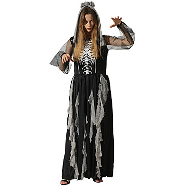 2999 Calavera Zombi Vestidos Disfrace De Cosplay Adulto Mujer Vestidos Halloween Halloween Carnaval Mascarada Festival Celebración Poliéster