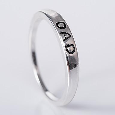 billige Motering-Dame Band Ring 1pc Hvit Sølv Legering Geometrisk Form Unikt design Europeisk Fest Gave Smykker Klassisk Bokstaver Søtt