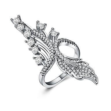 billige Motering-Dame Statement Ring Kubisk Zirkonium 1pc Sølv Kobber Annerledes Unikt design Europeisk trendy Bryllup Gave Smykker Klassisk Blad Formet Kul