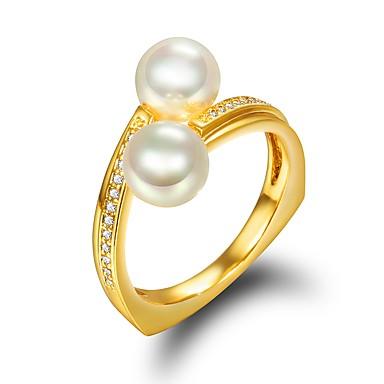 billige Motering-Dame Ring Kubisk Zirkonium 1pc Gull 18K Gullbelagt Perle Stilfull Luksus Romantikk Fest Engasjement Smykker Klassisk Kul Smuk