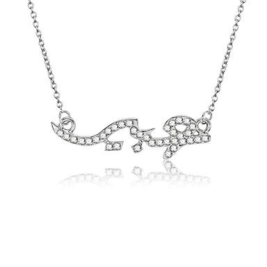 a8e7c0898881 Mujer Zirconia Cúbica Con monograma Collares con colgantes Diamante  Sintético Letra Moda Modern inicial Cool Plata 45+5 cm Gargantillas Joyas  1pc Para ...