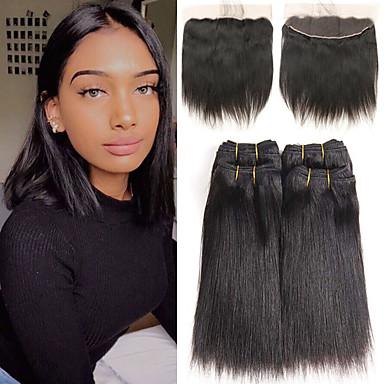 povoljno Ekstenzije od ljudske kose-4 paketi s zatvaranjem Brazilska kosa Ravan kroj Remy kosa Produžetak tkati 10-26 inch Isprepliće ljudske kose Modni dizajn Nježno Najbolja kvaliteta Proširenja ljudske kose