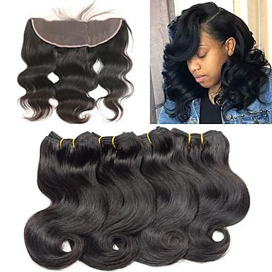 povoljno Ekstenzije od ljudske kose-4 paketi s zatvaranjem Brazilska kosa Tijelo Wave Remy kosa Produžetak tkati 10-26 inch Isprepliće ljudske kose Modni dizajn Nježno Najbolja kvaliteta Proširenja ljudske kose