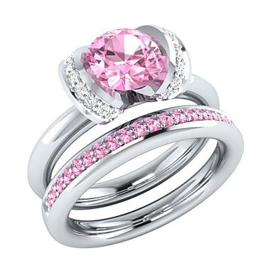 billige Motering-Dame Ring Ring Set Kubisk Zirkonium 2pcs Hvit Kobber Geometrisk Form Stilfull Luksus Europeisk Bryllup Fest Smykker Blomst Søtt
