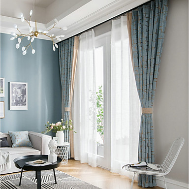 [$124.79] European Privacy Two Panels Curtain Living Room Curtains /  Jacquard