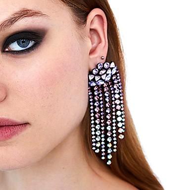 preiswerte Lange Ohrringe-Damen Tropfen-Ohrringe Lang Luxus Diamantimitate Ohrringe Schmuck Purpur / Gelb Für Hochzeit Party Verlobung Klub 1 Paar
