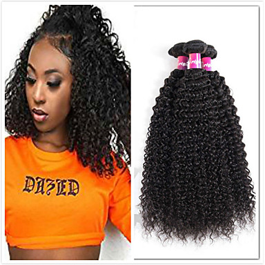 povoljno Ekstenzije od ljudske kose-4 paketića Brazilska kosa Kinky Curly Remy kosa Ljudske kose plete Bundle kose Jedan Pack Solution 8-28inch Prirodna boja Isprepliće ljudske kose Jednostavan Odor Free Mini Proširenja ljudske kose