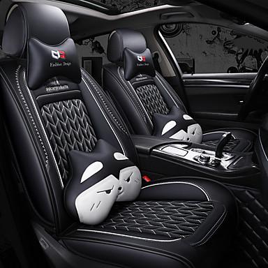 levne Doplňky do interiéru-5 sedadel karoserie autosedačky se dvěma polštáři a dvěma pasovými polštářky / ledové hedvábné povlečení / pu kůže / airbag kompatibilita / nastavitelné a odnímatelné / čtyři roční období univerzální