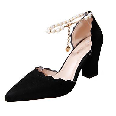 สำหรับผู้หญิง PU ฤดูใบไม้ผลิ ไม่เป็นทางการ รองเท้าส้นสูง ส้นหนา เพิร์ลเทียม สีดำ / สีเทา / สีชมพู