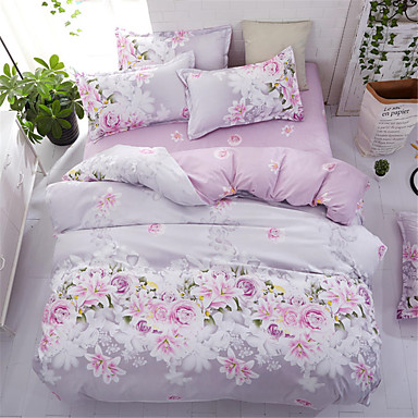 cheap Home & Garden-Duvet Cover Sets Floral Polyster Printed 4 Piece Bedding Set With Pillowcase Bed Linen Sheet Single Double Queen King Size Quilt Covers Bedclothes