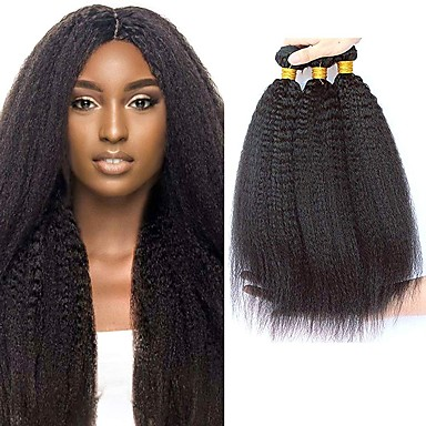 povoljno Ekstenzije od ljudske kose-4 paketića Brazilska kosa Kinky Ravno Virgin kosa Ljudske kose plete Bundle kose Jedan Pack Solution 8-28inch Prirodna boja Isprepliće ljudske kose Sladak Sigurnost Slatko Proširenja ljudske kose