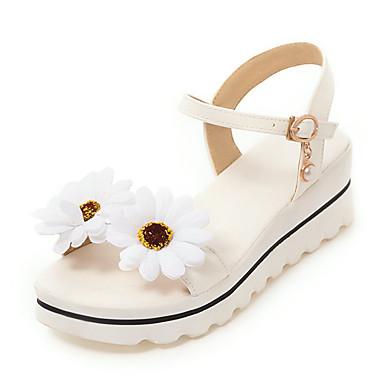 สำหรับผู้หญิง รองเท้าแตะ รองเท้าส้นตึก เปิดนิ้ว PU หวาน / minimalism ฤดูร้อน ขาว / สีชมพู / พรรคและเย็น / พรรคและเย็น