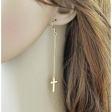povoljno Modne naušnice-Žene Viseće naušnice Ukriženo Kereszt Stilski Jednostavan Naušnice Jewelry Zlato / Pink Za Dnevno 1 par