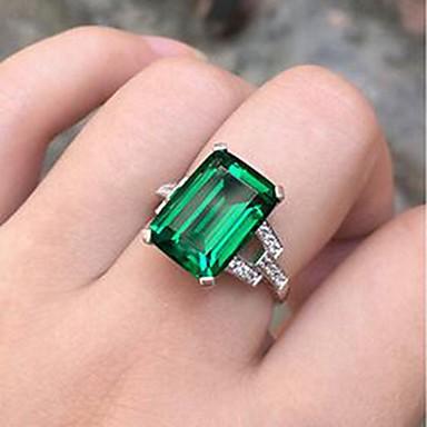 levne Dámské šperky-Dámské Prsten Syntetický smaragd 1ks Zelená Stříbrná stylové Denní Šperky