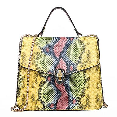 povoljno Tote torbe-Žene Gumbi PU Torba s ručkom Krokodil Blushing Pink / Bijela / Plava / Zmijska koža / Jesen zima