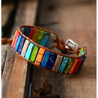 voordelige Herensieraden-Heren Dames loom Bracelet Wide Bangle Gevlochten Regenboog Luxe energie tekonahka Armband sieraden Regenboog Voor Bruiloft Dagelijks Feestdagen Belofte