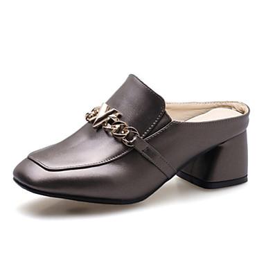 สำหรับผู้หญิง รองเท้าไม้ & รองเท้าหัวทู่ ส้นหนา PU ฤดูร้อน สีดำ / แดง / ผ้าขนสัตว์สีธรรมชาติ