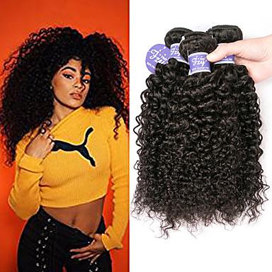 3 Bundles / กลุ่ม ผมอินเดีย Kinky Curly ไม่ได้เปลี่ยนแปลง 100% Remy Hair Weave Bundles มนุษย์ผมสาน มัดผม ผมต่อแท้ 8-28 inch ธรรมชาติ สานเส้นผมมนุษย์ ง่ายต่อการพกพา extention สำหรับผู้หญิงผิวดำ