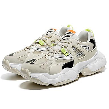 สำหรับผู้ชาย รองเท้าผ้าใบ Clunky PU / Tissage Volant ตก / ฤดูร้อนฤดูใบไม้ผลิ Sporty / ไม่เป็นทางการ รองเท้ากีฬา การออกกำลังกายและการฝึกอบรมข้าม / วสำหรับเดิน ระบายอากาศ ลายบล็อคสี / ไม่ลื่นไถล