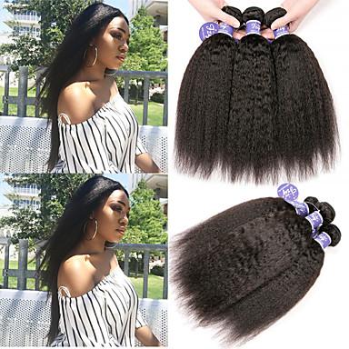 povoljno Ekstenzije od ljudske kose-6 paketića Peruanska kosa Yaki Yaki Straight Virgin kosa 100% Remy kose tkanja Bundle Headpiece Ljudske kose plete Bundle kose 8-28 inch Natural Isprepliće ljudske kose Modni dizajn Visokog sjaja