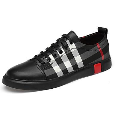 สำหรับผู้ชาย รองเท้าหนัง ผ้าใบ / แน๊บป้า Leather ตก / ฤดูร้อนฤดูใบไม้ผลิ Sporty / Preppy รองเท้าผ้าใบ ไม่ลื่นไถล ลายบล็อคสี สีดำ / พรรคและเย็น / พรรคและเย็น / รองเท้าสบาย ๆ