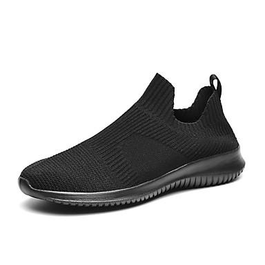 Homens Sapatos Confortáveis Tissage Volant Primavera / Outono Esportivo / Casual Tênis Fitness / Caminhada Respirável Preto / Branco e Preto / Branco / Atlético